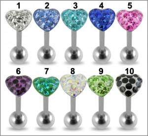 SS Tongue Barbell With Heart Crystal Top