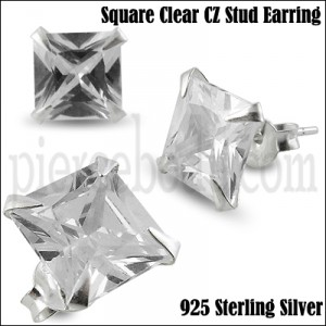 925 Sterling Silver Square CZ Earring