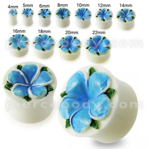 Flower Carved Bone Ear Plug