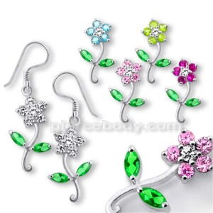 925 Sterling Silver Flower Dangle Earring