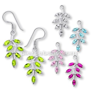 925 Sterling Silver Leaf Jeweled Earring PBEJ036