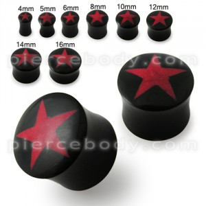 Horn Ear Plug with Red Star Inlay