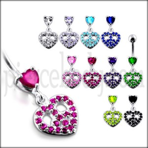 Jeweled Fancy Heart Shape Silver Dangling SS Bar Curved Belly Ring