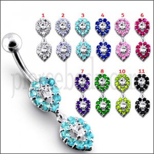 Fancy Green Jeweled Silver Dangling Navel Ring Body jewelry