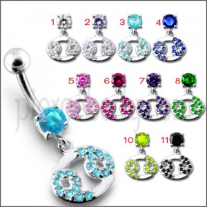 Fancy Mix Design Green Jeweled Dangling Navel Ring