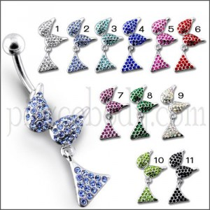 Silver Fancy Mix Design Jeweled Dangling SS Curved Belly Ring