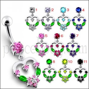 Silver Fancy Mix Color Jeweled Heart Dangling SS Bar Belly Ring