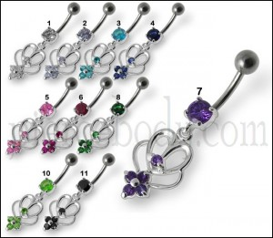 Fancy Purple Stone Jeweled Dangling Curved Bar  Belly Ring