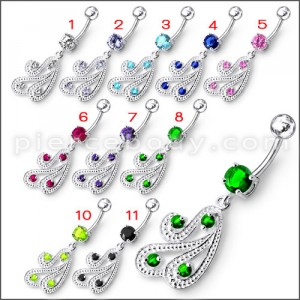 Fancy Green Jeweled Multi Lines Dangling With SS Banana Bar Belly Ring