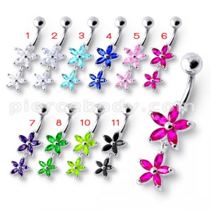 Double Flower Jeweled Dangling Belly Ring
