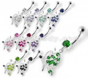 Fancy Butterfly Jeweled Silver Dangling Belly Ring