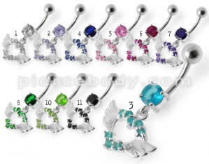 Devil Heart Jeweled Dangling Belly Ring