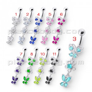 Fancy Design Multi Jeweled Dangling SS Bar Navel Ring