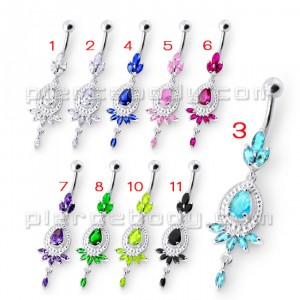 Fancy Sky Blue Color Crown Jeweled Dangling SS Bar Belly Ring