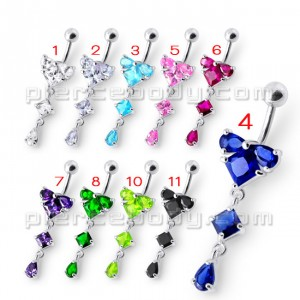 Fancy fashionable Jeweled Dangling With SS Bar Navel Body Jewelry Ring