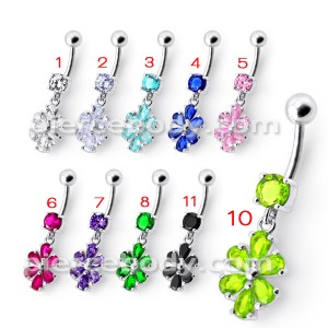 Fancy Green Stone Flower Jeweled Silver Dangling With SS Bar Navel Ring