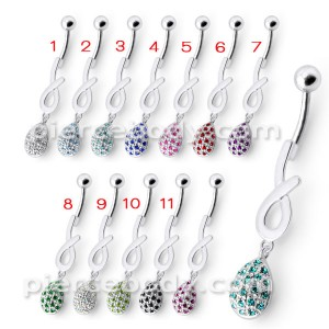Silver Fancy Jeweled Design Dangling Cuved Navel Body Jewelry Ring