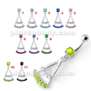 Silver Green Stone Jeweled Dangling SS Bar Belly Ring