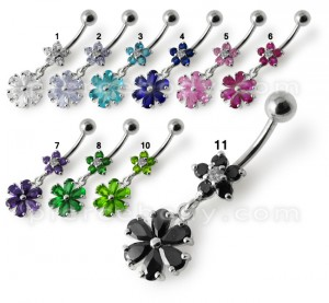 Fancy Black Jeweled Wheel Dangling 316L SS Belly Ring Body jewelry