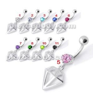 Fancy Jeweled Diamond Cut Dangling Navel Ring