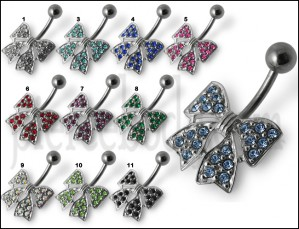Fancy Silver Jeweled Butterfly Banana Bar Belly Ring