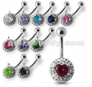 Silver Fancy  Single Heart Stone Jeweled Belly Ring Body Jewelry