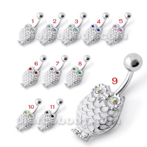 Owl Silver Belly Ring