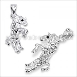 925 Sterling Silver Jeweled Goat Pendant