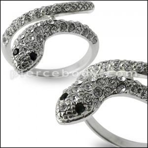 Jeweled Snake Fashion Silver Ring