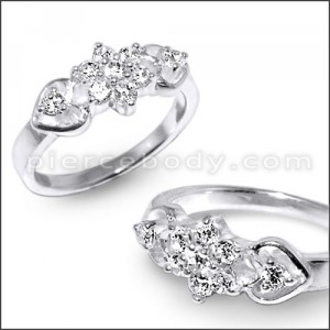 CZ Jeweled Fashion Heart Shape Silver Ring