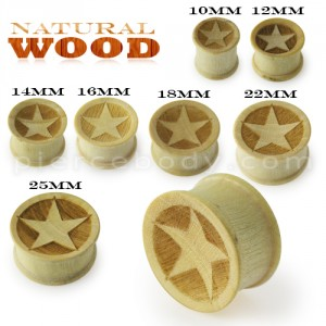 Laser Cut Star Wood Ear Plug