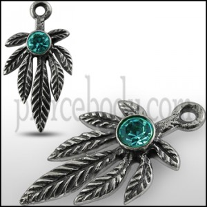 925 Sterling Silver Green jeweled Leaf Marijuna Pendant