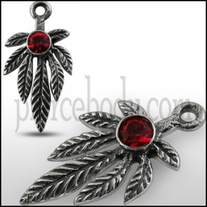 925 Sterling Silver Red Stone Studded Leaf Marijuna Pendant