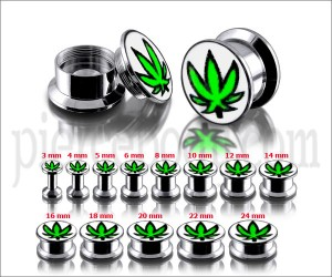 SS Internal Screw Fit With Marijuana Logo Ear Tunnel
