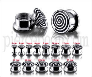 SS Internal Screw Fit With Spiral Logo Ear Tunnel