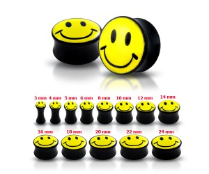 Double Flared Smiley Logo Ear Plug