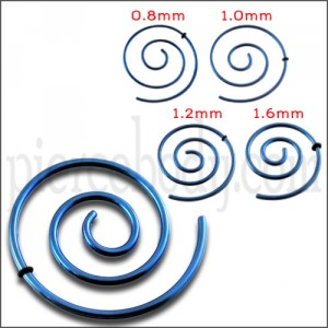 Anodized Dark Blue Spiral Ear Plug Expander