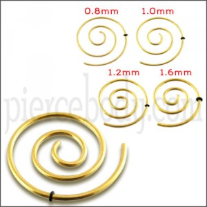 Anodized Spiral Ear Plug Body Jewelry In Gold Color