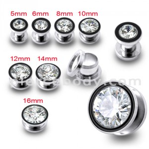SS Jeweled Screw Fit Flesh Tunnel