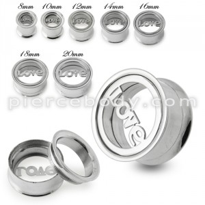 Love Plate Top Screw Fit Flesh Tunnel