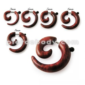 Acrylic Spiral Gauge Ear Plug Fake Cheater Stretcher Flesh Earrings