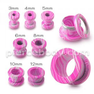 Pink Painted Screw Fit Flesh Tunnel