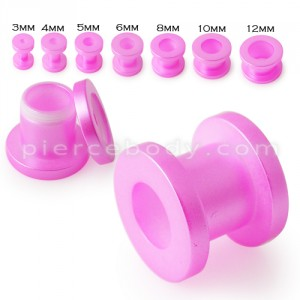 Pink Synthetic Pearl 3mm to12mm Screw Fit Flesh Tunnel