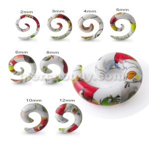 Spiral Hand Painted Red Rose Ear Expander