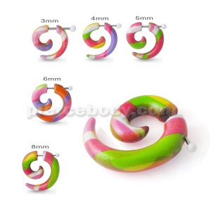 Fake Spiral Taper Solid Mix Color Acrylic Ear Cheater Plug