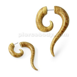 Wooden Marble Long Tail Fake Ear Plug