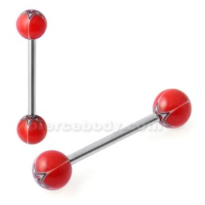 Straight Barbell with Red Tribal Star UV Balls