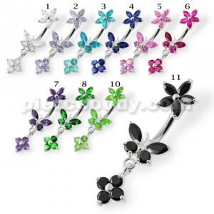 Flower with Butterfly Spinal belly piercings