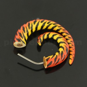 Tiger Pattern Printed Organic Wood Spiral Fake Ear Plug