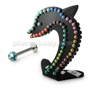 Labret with Ferido AB Epoxy Ball in a Dolphin Display